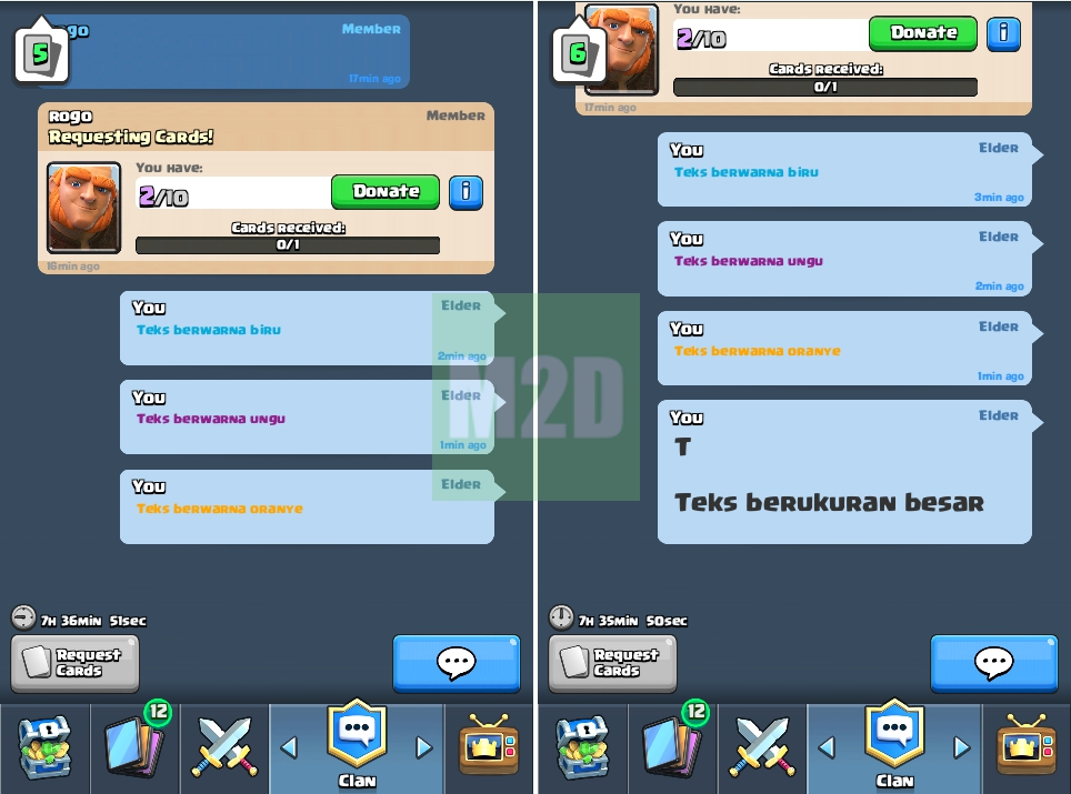 Chat warna clash royale