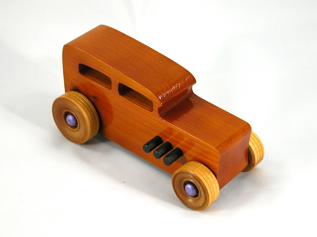 Right Front - Wooden Toy Car - Hot Rod Freaky Ford - 32 Sedan - Pine - Amber Shellac - Metallic Purple Hubs