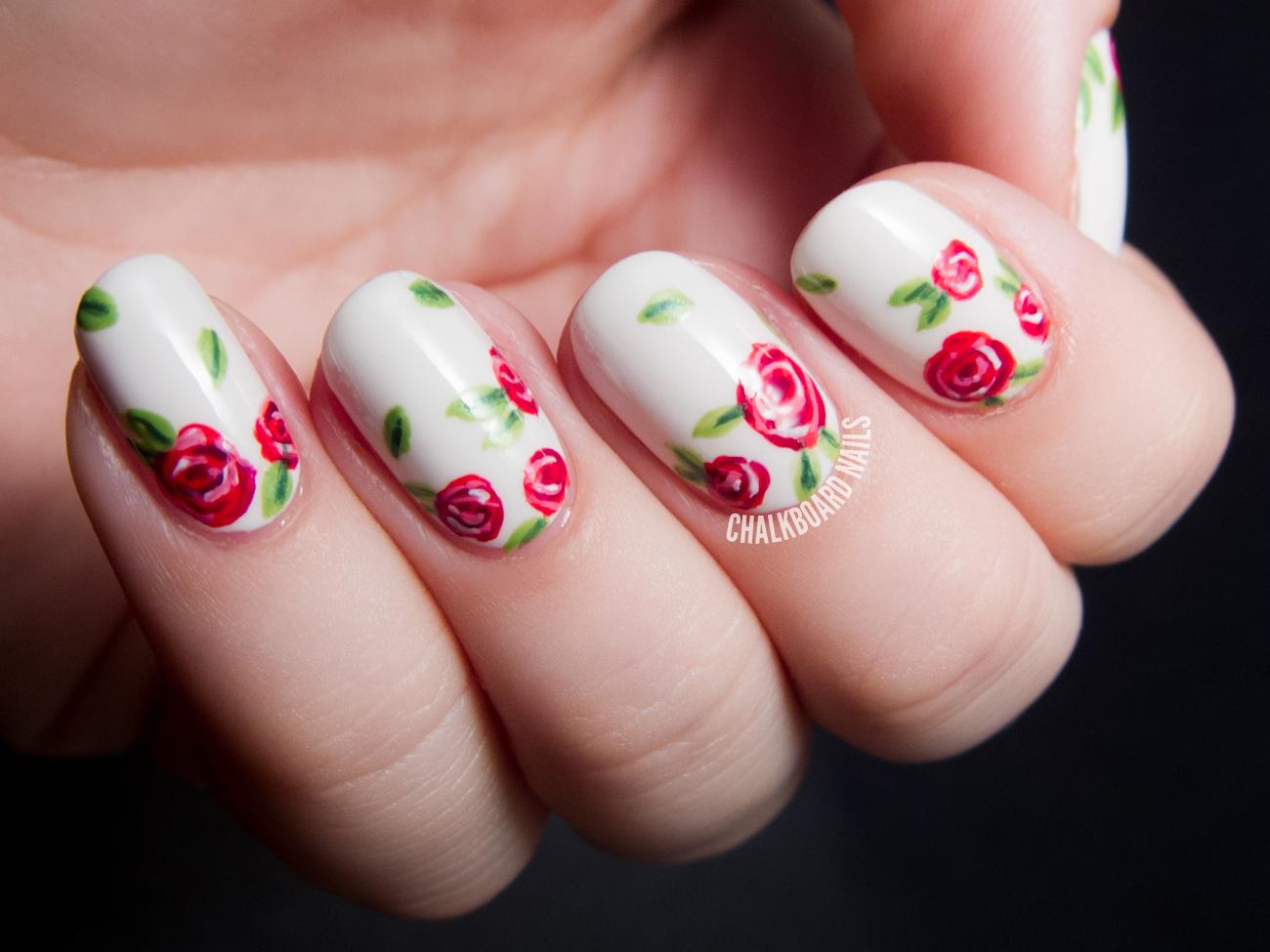 Sweet Red Rose Floral Print Chalkboard Nails Phoenix Arizona Nail Artist