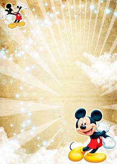Tarjeta de Invitación de Mickey Mouse Dorada