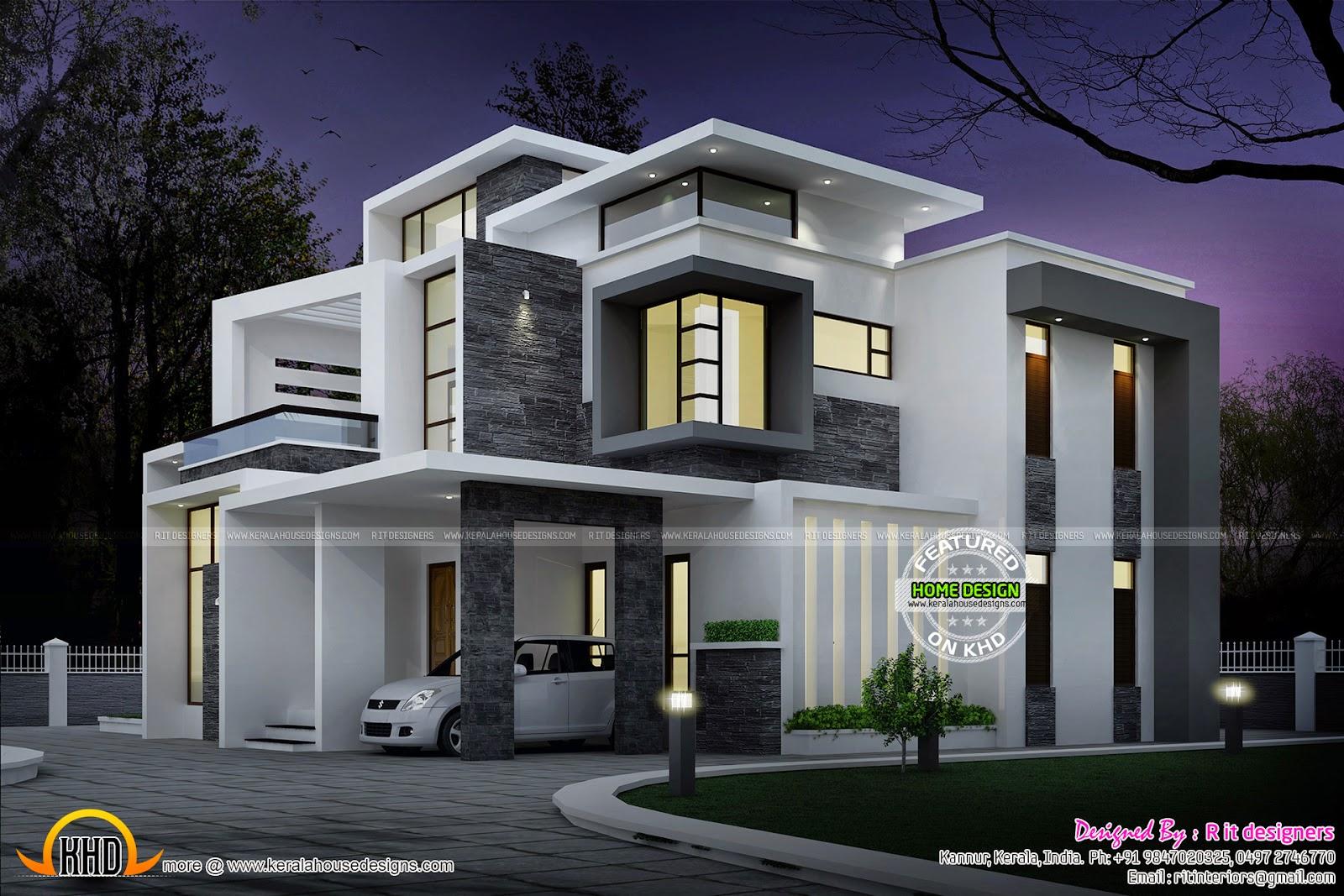 Grand contemporary home design - Kerala home design and ...