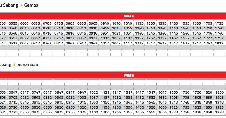 Ktm Tampin Schedule