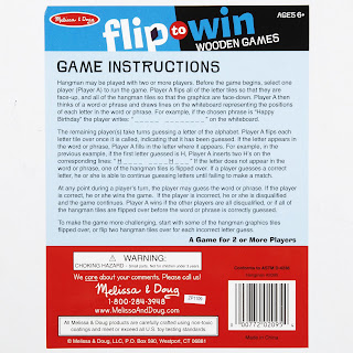 back side and instructions to Melissa and Doug's wooden Hangman game with flip-over tiles