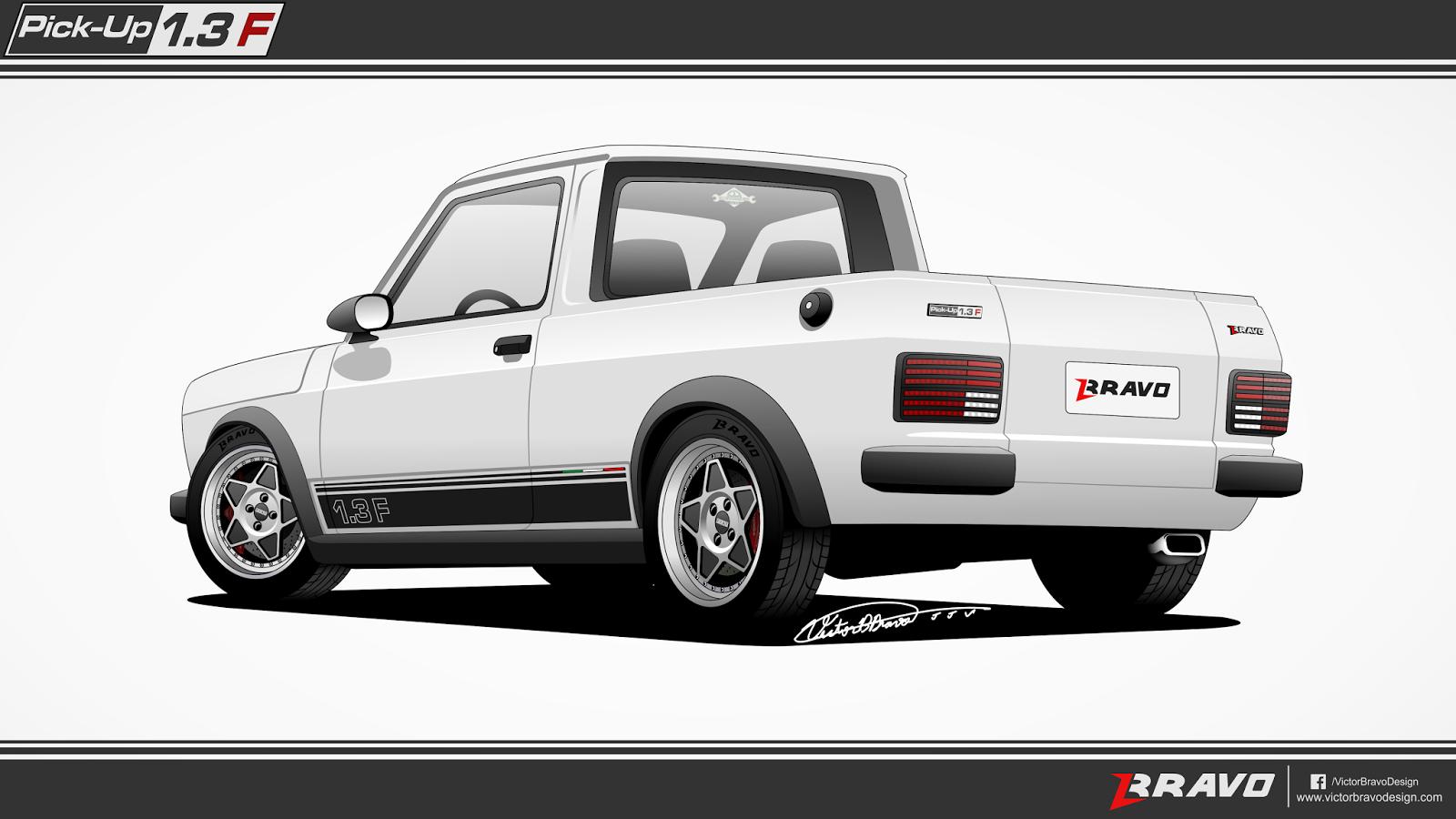 """Imagem mostrando o desenho da traseira da Fiat Pick-Up 147 """"1.3F"""""""