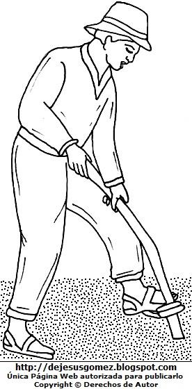 Imagen de un campesino trabajando para colorear o pintar para niños  (Campesino de la costa arando la tierra). Dibujo del campesino hecho por Jesus Gómez