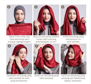 Tutorial hijab scarf segi empat untuk kerja