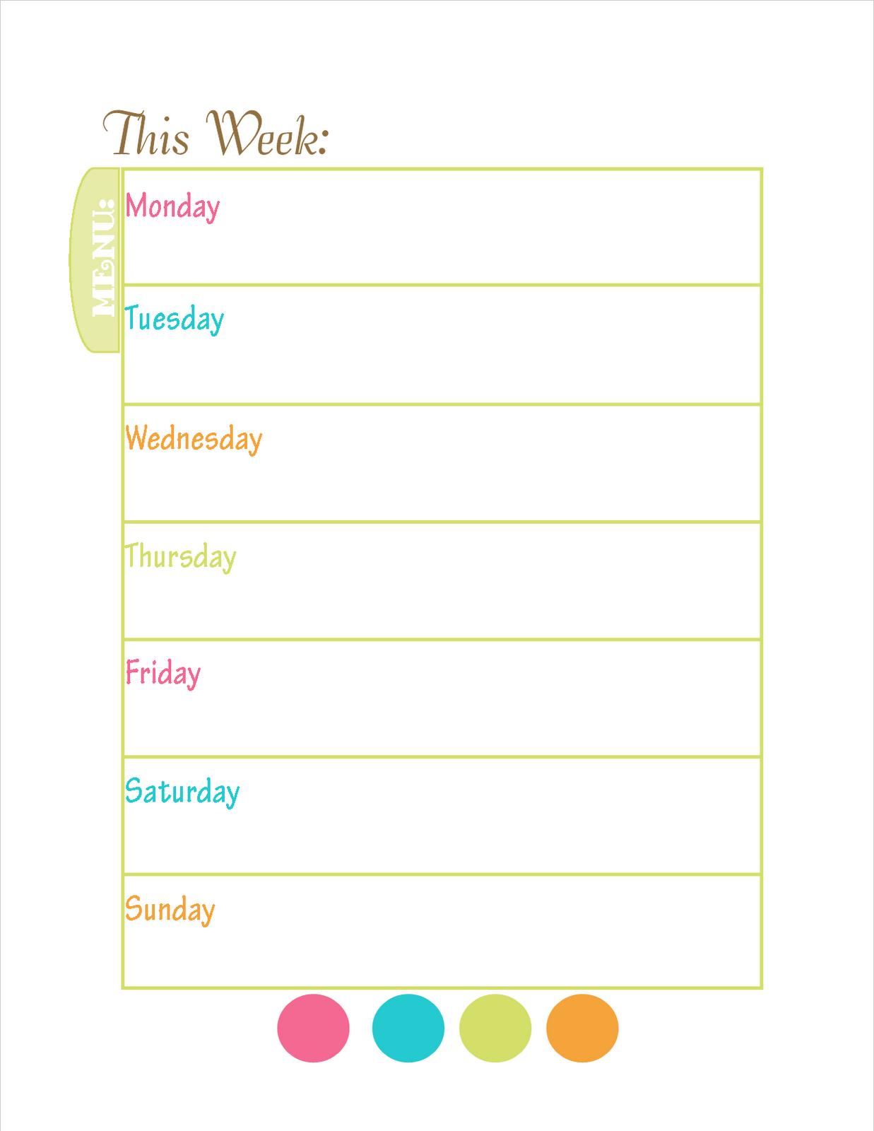 Weekly Dinner Menu Template gallery weekly dinner menu template – Free Weekly Menu Templates