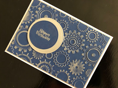 steampunk gears embossed birthday card