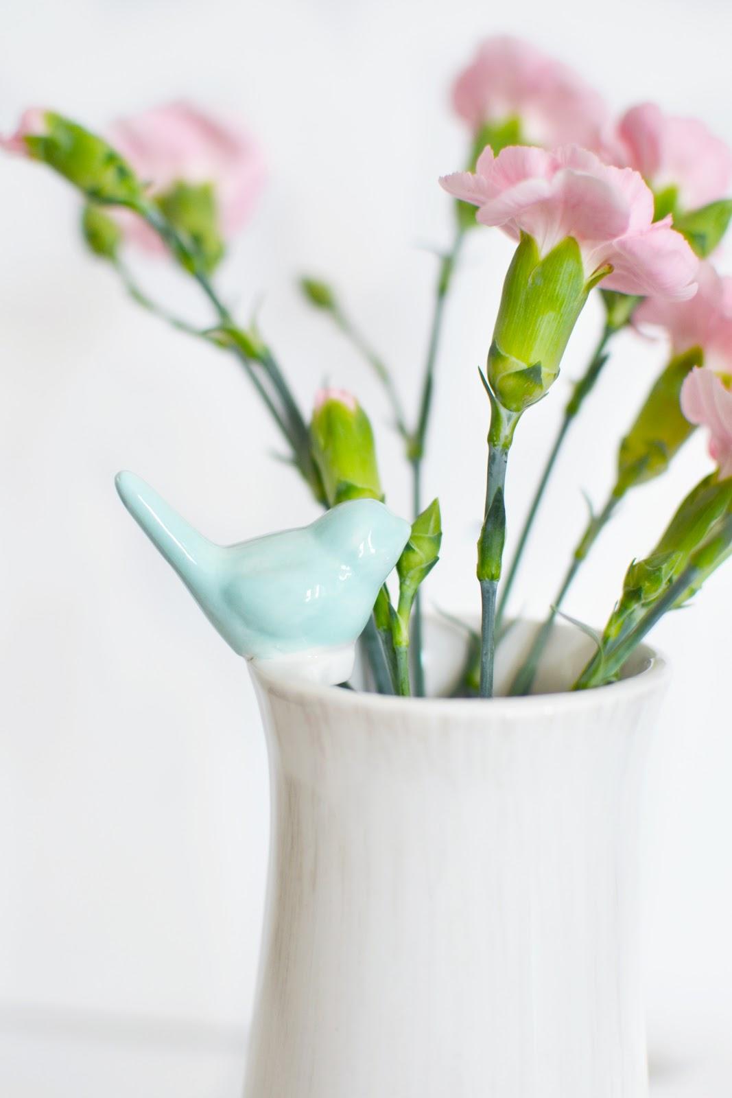 shabby chic vase, pink carnations