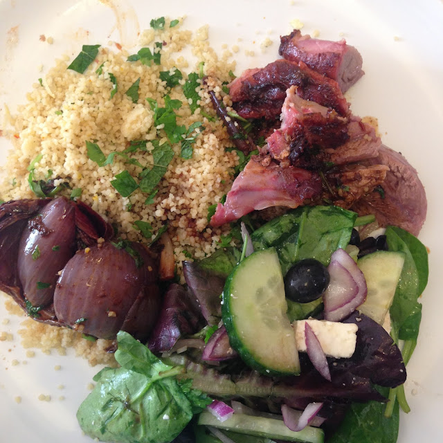 Cous cous with red onions and harissa lamb