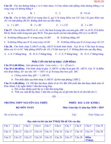 Đề thi toán học kì 1 lớp 11 - có đáp án