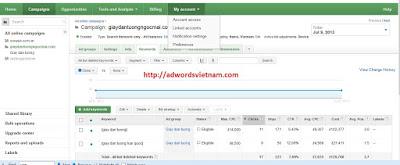 chia sẻ quyền truy cập vào tài khoản Adwords