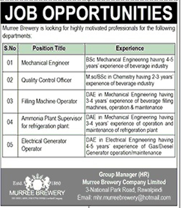 Jobs in Murree Brewery Company Limited  July 2017.