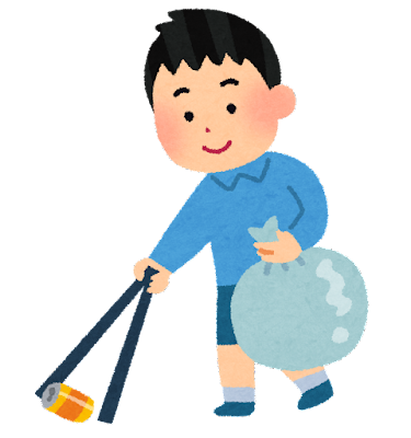 ゴミ拾いをする子供のイラスト