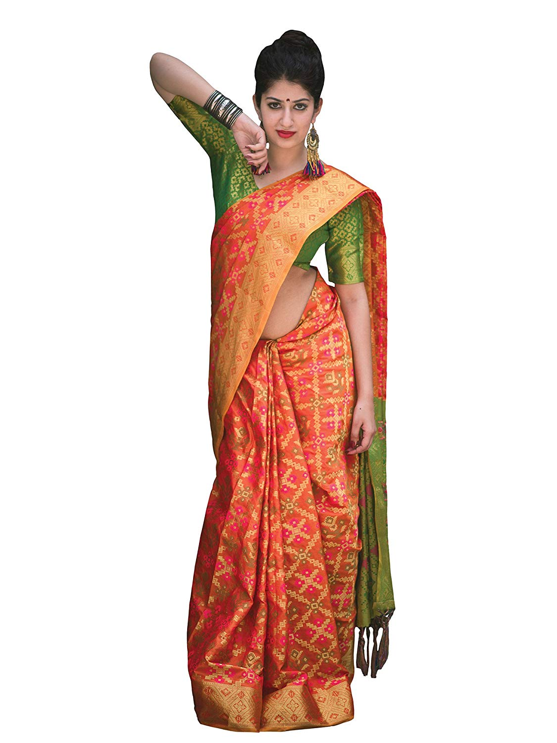 Applecreation Women'S Patola Silk Saree With Blouse Piece (3)