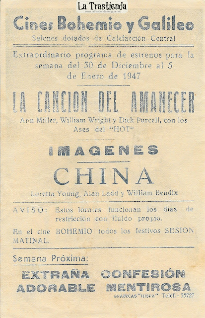 China - Programa de Cine - Loretta Young - Alan Ladd