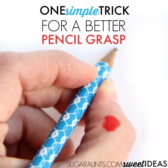 Simple trick for helping kids use a tripod grasp while writing.