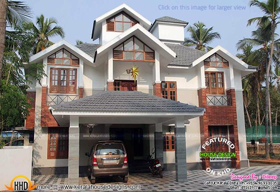 Sloping roof house in Kerala