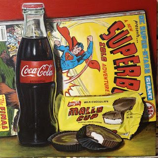 photorealistic painting of a coca cola bottle and superboy comic book with mallo cup candy by artist kim testone