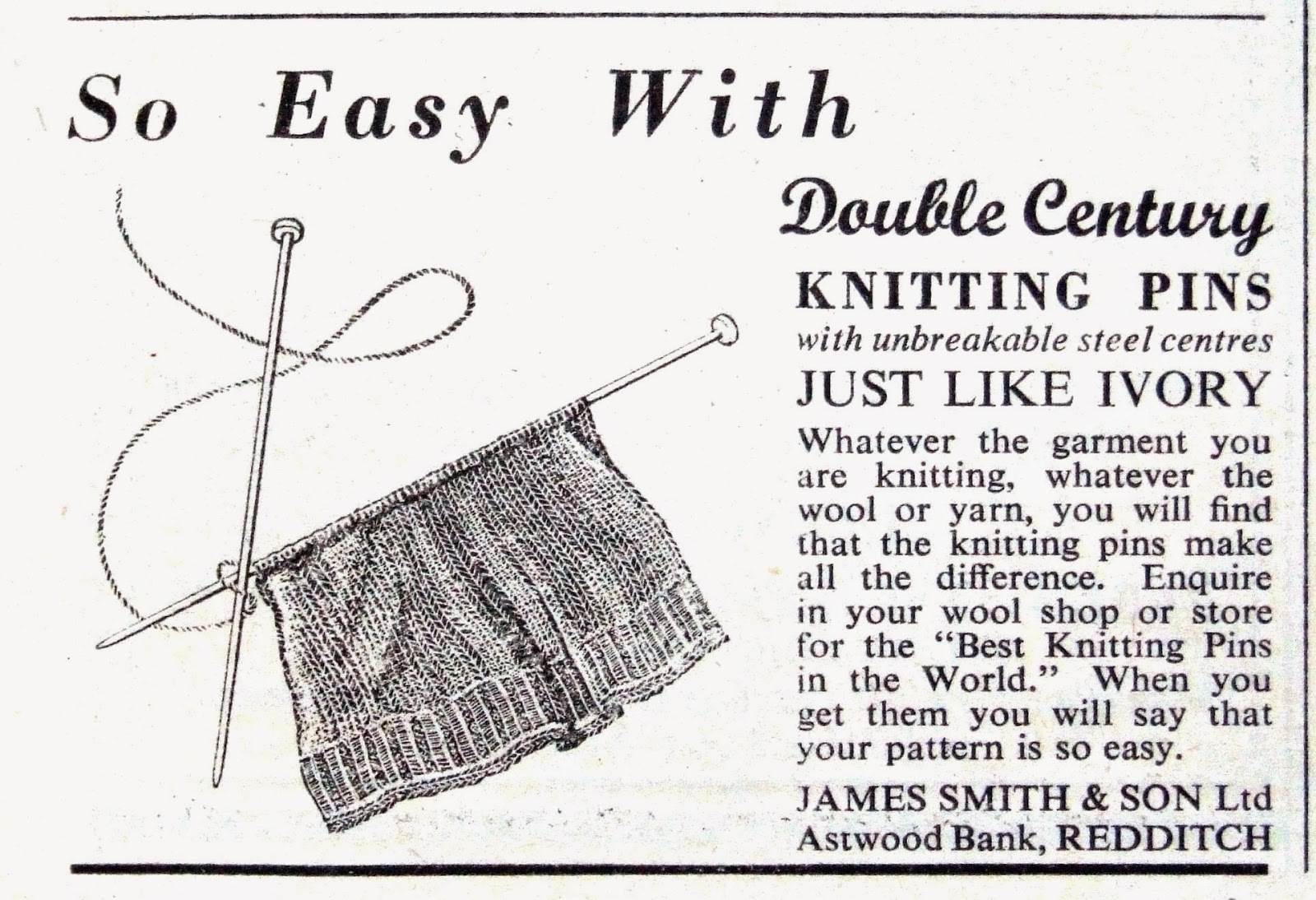Vintage knitting needles, 1950s