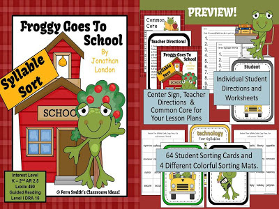 http://www.teacherspayteachers.com/Product/Froggy-Goes-to-School-Book-Syllable-Sort-Center-Game-for-Common-Core-759938