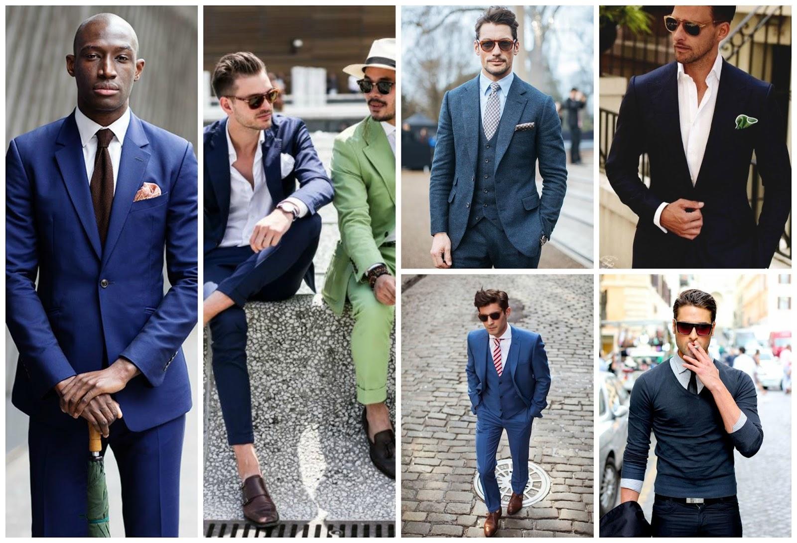 Black Suit Blue Shirt Gold Tie