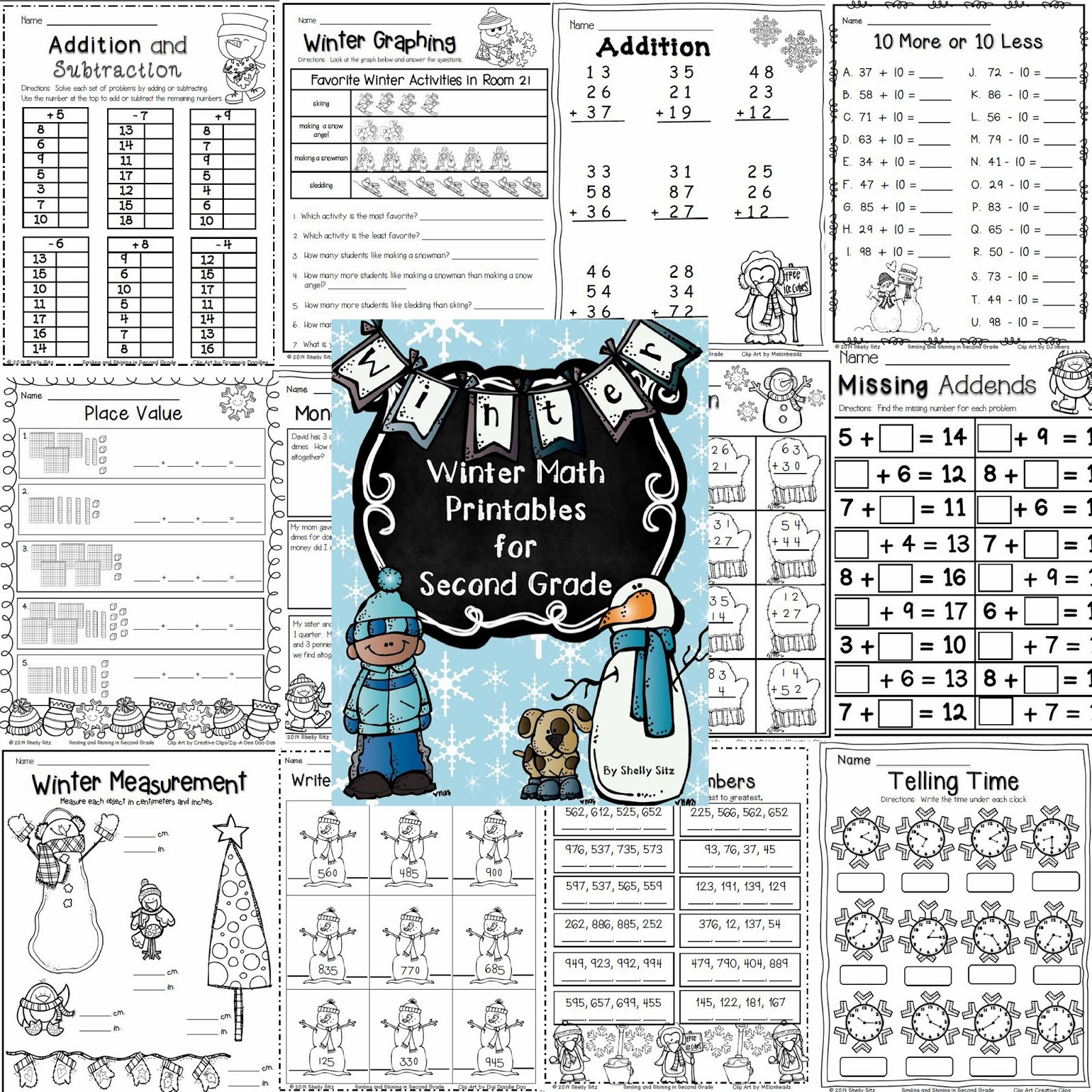 Smiling And Shining In Second Grade Winter Math Printables