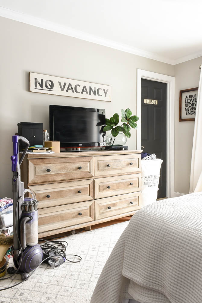 Real life messy blogger home tour-bedroom