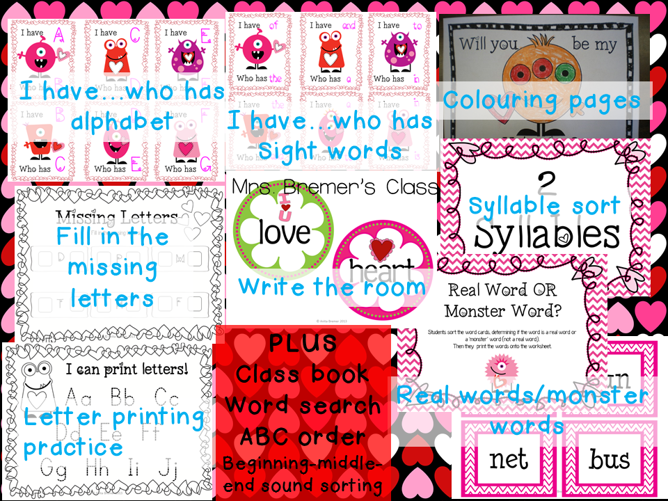 Valentine's Day themed literacy center activities for Kindergarten