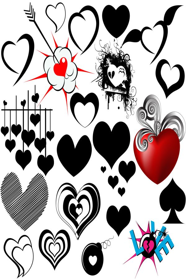Free Photoshop Vector Heart Graphics Brushes Download
