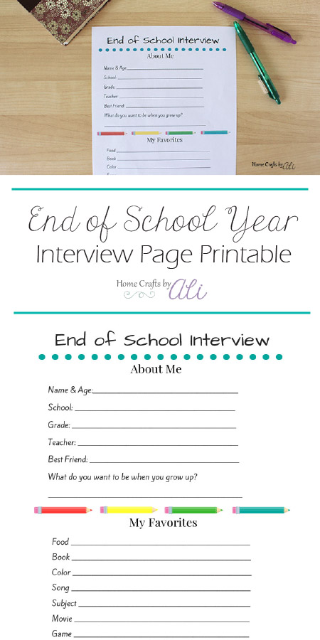 End of School Year Interview Page Printable students