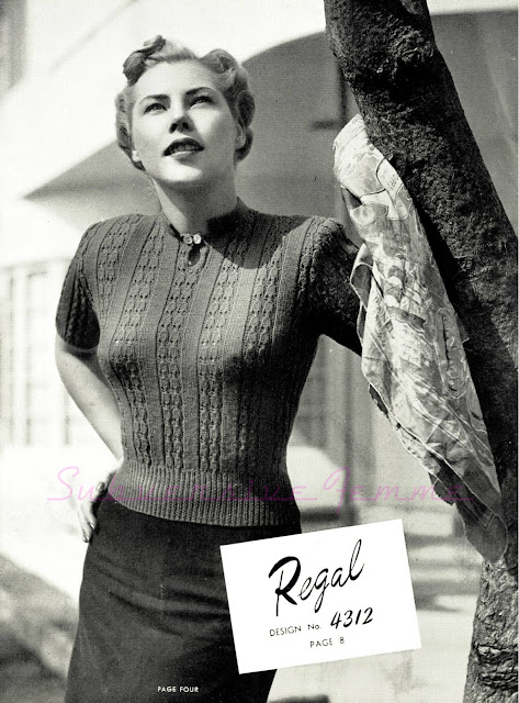 The Vintage Pattern Files: Free 1940's Knitting Pattern - Womens Regal Jumper