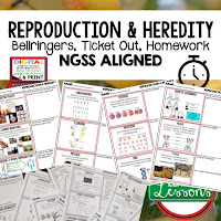 Reproduction and Heredity, LIFE SCIENCE Warm Ups & Bell Ringers, LIFE SCIENCE Use Ticket Out, Homework NGSS 6-8 Science, Print and Digital