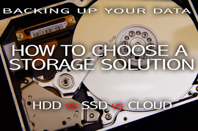 "title image depicting a HDD platter with text overlaid saying ""backing up your data - how to choose a storage solution HDD vs SSD vs Cloud""."