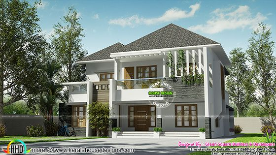 2488 sq-ft 4 bedroom modern sloping roof house