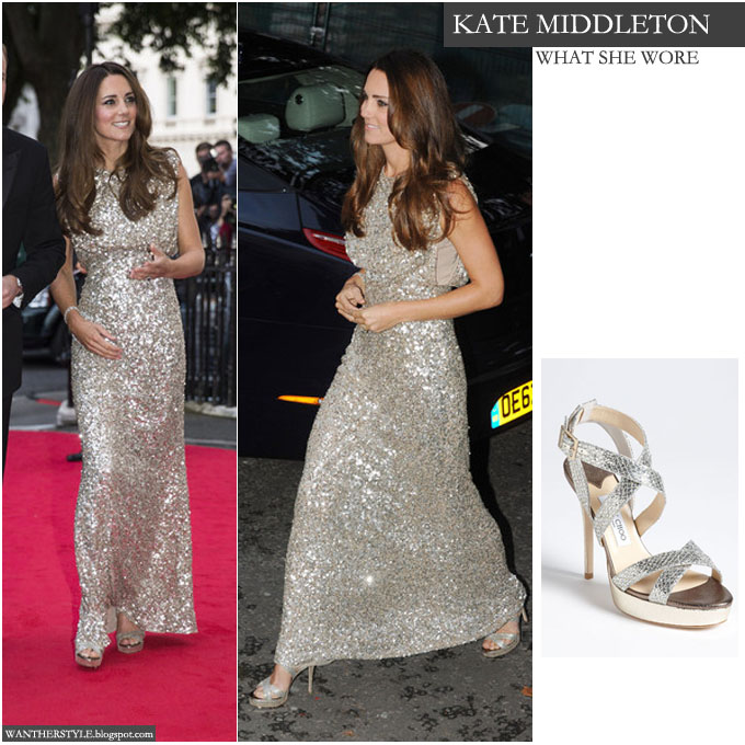 b12dd6ed317 Kate Middleton Duchess of Cambridge in silver sequin gown with silver open  toe platform JImmy Choo