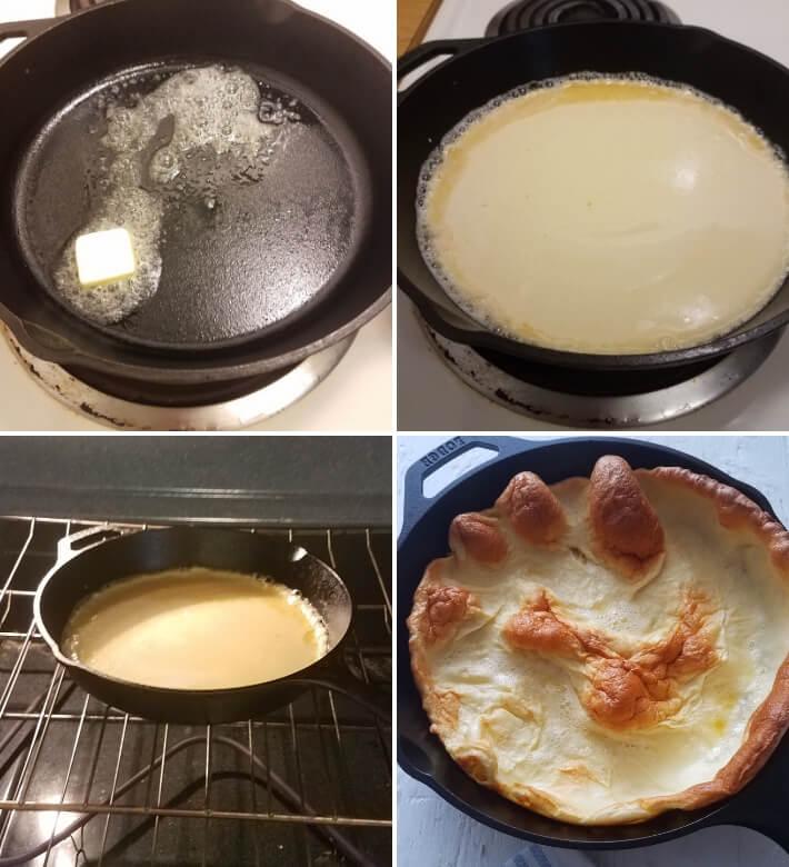 Cocción de los panqueques al horno, en una sartén de hierro