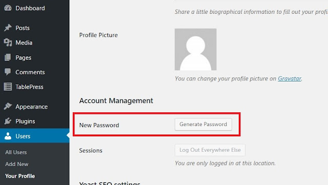 wordpress show password generator