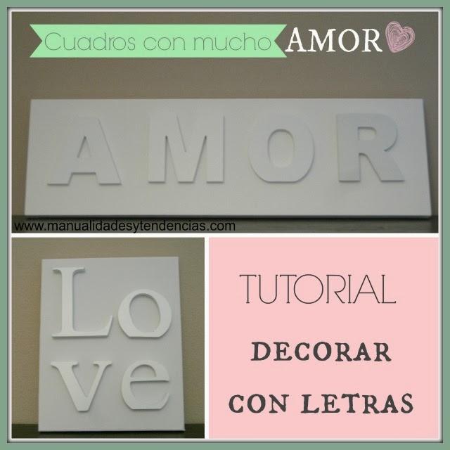 Cuadros decorados con letras Amor y love