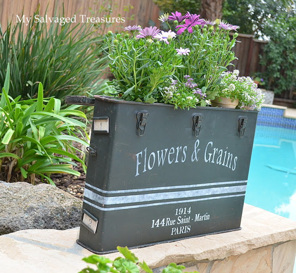 Flowers & Grains custom stenciled vintage ammunition case flower box