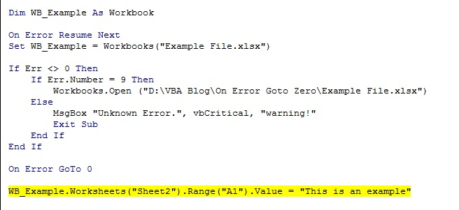 Excel Vba Solutions Use Of On Error Goto 0