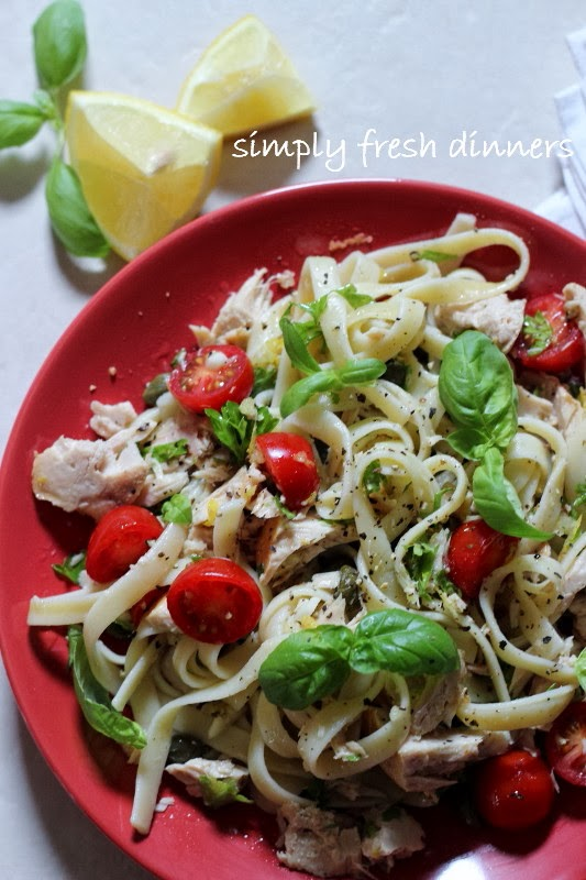 Fettuccine with Tuna, Fresh Herbs ad Tomatoes by simplyfreshdinners.com
