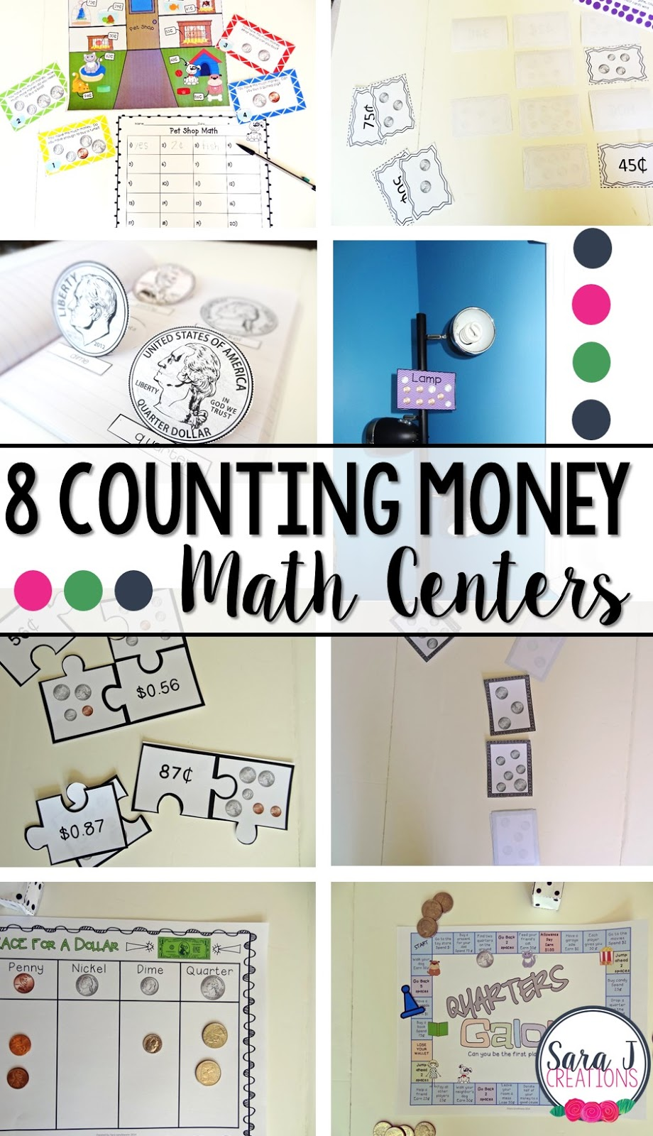 8 money centers that include fun activities designed for second grade students are the perfect way to make teaching and reviewing money in small groups and with the whole class easier.