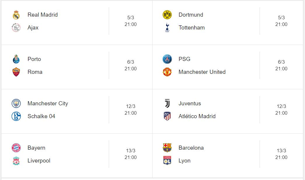 Calendario y horarios de la Champions League 2017/18. Cruces de la Champions League. Emparejamientos de la Champions League. Calendario de Octavos de final de la Champions League. Fechas, horarios  y transmisiones de TV de la Champions League. Calendario completo de todos los juegos de la Champions League. Calendario de fútbol.