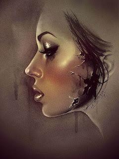 Retrato de perfil de mujer en prisma color