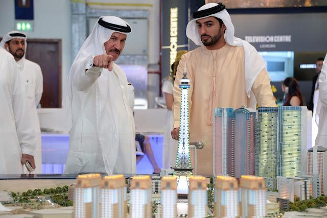 H.H. Sheikh Mansour Bin Mohammed Bin Rashid and H.H. Sheikh Rashid Bin Humaid Al Nuaimi visit FCW stand at Cityscape