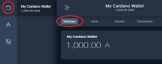saldo de cardano wallet configurado Daedalus