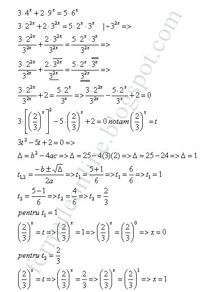 ecuatii exponentiale exercitiu rezolvat 18