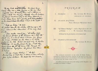 Of Human Bondage with a Digression on the Art of Fiction programme manuscript