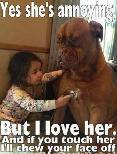 Little Girl Guard Dog Stethoscope Funny Meme, Yes She's Annoying But I Love Her! Friday Frivolity fun to make us laugh, plus link-up!
